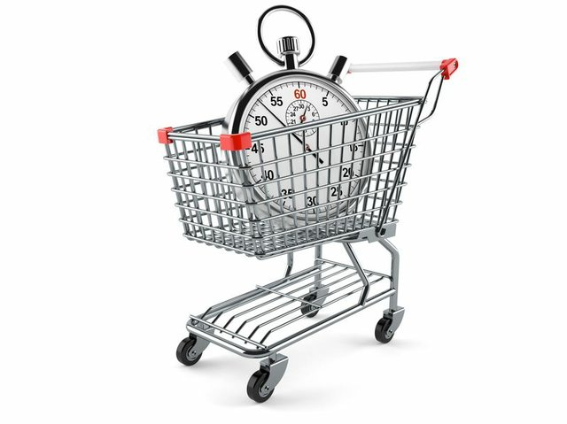 Shopping cart with stopwatch