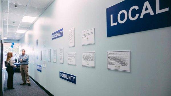 Testimonial wall at Memphis Reprographics