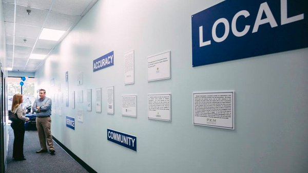 Testimonial wall at Memphis Reprographics